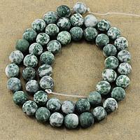 Grüner Tupfen Stein Perlen, grüner Punkt Stein, rund, natürlich, verschiedene Größen vorhanden & satiniert, Bohrung:ca. 1-2mm, Länge:ca. 15 ZollInch, verkauft von Menge
