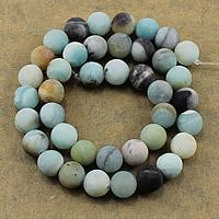 Amazonit Perlen, rund, natürlich, verschiedene Größen vorhanden & satiniert, Bohrung:ca. 1-2mm, Länge:ca. 15.5 ZollInch, verkauft von Menge