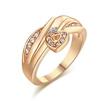 Gets® Finger Ring, Messing, Herz, vergoldet, verschiedene Größen vorhanden & mit kubischem Zirkonia, frei von Nickel, Blei & Kadmium, 11mm, verkauft von PC