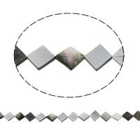 Schwarze Muschelperlen, Rhombus, natürlich, 13x14x2mm, Bohrung:ca. 1mm, ca. 28PCs/Strang, verkauft per ca. 15.5 ZollInch Strang
