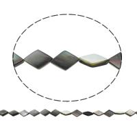 Schwarze Muschelperlen, Rhombus, natürlich, 11x16x3mm, Bohrung:ca. 1mm, ca. 25PCs/Strang, verkauft per ca. 15.5 ZollInch Strang