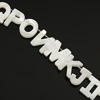 Natürliche weiße Muschelperlen, Buchstabe, 5.5x10-12.5x10mm, Bohrung:ca. 0.5mm, ca. 26PCs/Strang, verkauft per ca. 8 ZollInch Strang