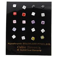Zirkonia Ohrstecker, Edelstahl, Quadrat, mit kubischem Zirkonia & facettierte, gemischte Farben, 5x5x13mm, 10PaarePärchen/Box, verkauft von Box