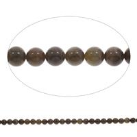 Holzmaserung Stein Perlen, Grain Stein, rund, 8mm, Bohrung:ca. 1mm, Länge:ca. 15 ZollInch, 5SträngeStrang/Tasche, ca. 50PCs/Strang, verkauft von Tasche