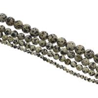 Dalmatinische Perlen, Dalmatiner, rund, verschiedene Größen vorhanden, Bohrung:ca. 1mm, Länge:ca. 15 ZollInch, verkauft von Tasche
