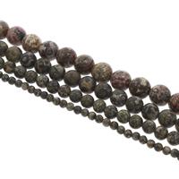 Leopardhaut Stein, rund, verschiedene Größen vorhanden, Bohrung:ca. 1mm, Länge:ca. 15 ZollInch, verkauft von Tasche