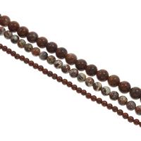 Jaspis Brekzien Perlen, Jaspis Brecciated, rund, verschiedene Größen vorhanden, Bohrung:ca. 1mm, Länge:ca. 15 ZollInch, verkauft von Tasche