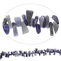 Edelstein-Span, blauer Punkt, Klumpen, 7x9mm-12x18mm, Bohrung:ca. 0.8mm, Länge:ca. 32 ZollInch, 5SträngeStrang/Tasche, ca. 210PCs/Strang, verkauft von Tasche