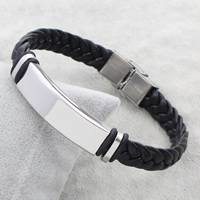 Edelstahl Schmuck Armband, mit PU Leder & Silikon, geflochten, originale Farbe, 38x12x5mm, verkauft per ca. 7.5 ZollInch Strang