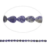 Blauer Tupfen Stein Perlen, blauer Punkt, Tropfen, 8x10x5mm, Bohrung:ca. 1mm, ca. 40PCs/Strang, verkauft per ca. 15.5 ZollInch Strang