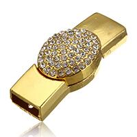 Zinklegierung Magnetverschluss, goldfarben plattiert, mit Strass, frei von Nickel, Blei & Kadmium, 42x18x10.50mm, Bohrung:ca. 11x4mm, 20PCs/Menge, verkauft von Menge