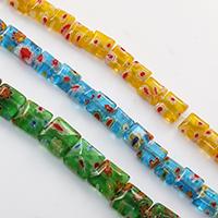 Murano Millefiori Lampwork Perle, Quadrat, handgemacht, verschiedene Größen vorhanden, keine, Bohrung:ca. 1mm, Länge:ca. 15 ZollInch, verkauft von Menge