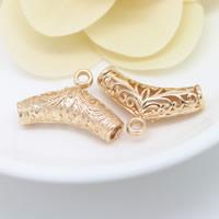 Messing Stiftöse Perlen, Rohr, 24 K vergoldet, hohl, frei von Nickel, Blei & Kadmium, 27x17mm, Bohrung:ca. 3mm, 3mm, 20PCs/Menge, verkauft von Menge