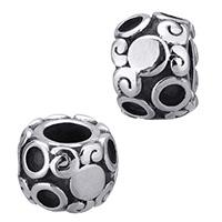 Edelstahl Europa Beads Einstellung, Trommel, ohne troll & Schwärzen, 11x7.50mm, Bohrung:ca. 5mm, Innendurchmesser:ca. 2.5mm, 5PCs/Menge, verkauft von Menge