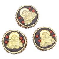 Zinklegierung flache Perlen, mit Indonesien & Harz, flache Runde, plattiert, buddhistischer Schmuck & doppelseitig, frei von Blei & Kadmium, 19x8mm, Bohrung:ca. 2mm, verkauft von PC