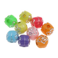 Silberdruck Acrylperlen, Acryl, Blume, Volltonfarbe, gemischte Farben, 5mm, Bohrung:ca. 1mm, ca. 9000PCs/Tasche, verkauft von Tasche