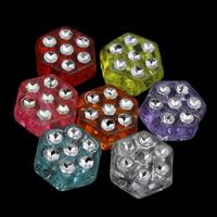 Silberdruck Acrylperlen, Acryl, Sechseck, transparent, gemischte Farben, 9x4mm, Bohrung:ca. 1mm, ca. 2600PCs/Tasche, verkauft von Tasche