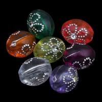 Silberdruck Acrylperlen, Acryl, oval, transparent, gemischte Farben, 8x11m, Bohrung:ca. 1mm, ca. 1700PCs/Tasche, verkauft von Tasche