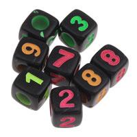 Anzahl Acrylkorn, Acryl, mit einem Muster von Nummer & gemischt & Volltonfarbe, schwarz, 7x7mm, Bohrung:ca. 3mm, ca. 1650PCs/Tasche, verkauft von Tasche