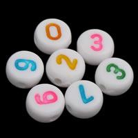 Anzahl Acrylkorn, Acryl, mit einem Muster von Nummer & gemischt & Volltonfarbe, weiß, 4x7mm, Bohrung:ca. 1mm, ca. 3600PCs/Tasche, verkauft von Tasche