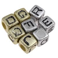 Alphabet Acryl Perlen, Würfel, verschiedene Stile für Wahl, 7x7mm, Bohrung:ca. 3mm, ca. 1950PCs/Tasche, verkauft von Tasche