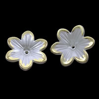 ABS-Kunststoff-Perlen Perlkappen, Blume, goldfarben plattiert, weiß, 23x5mm, Bohrung:ca. 1mm, ca. 500PCs/Tasche, verkauft von Tasche