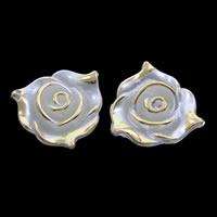 ABS-Kunststoff-Perlen, Blume, goldfarben plattiert, weiß, 21x9mm, Bohrung:ca. 1mm, ca. 350PCs/Tasche, verkauft von Tasche