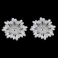 ABS-Kunststoff-Perlen Perlkappen, Blume, weiß, 47x8mm, Bohrung:ca. 1mm, ca. 180PCs/Tasche, verkauft von Tasche