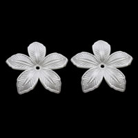 ABS-Kunststoff-Perlen Perlkappen, Blume, weiß, 40x4mm, Bohrung:ca. 1mm, ca. 350PCs/Tasche, verkauft von Tasche