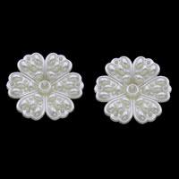ABS-Kunststoff-Perlen Perlen Einstellung, Blume, weiß, 38x11mm, Bohrung:ca. 1mm, Innendurchmesser:ca. 1,4mm, ca. 150PCs/Tasche, verkauft von Tasche