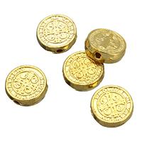 Zinklegierung flache Perlen, flache Runde, goldfarben plattiert, Christ/ Christin Schmuck, frei von Nickel, Blei & Kadmium, 9x9x3mm, Bohrung:ca. 1.5mm, 500PCs/Menge, verkauft von Menge