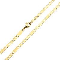 Halskette, Edelstahl, Wort jeus, goldfarben plattiert, Figaro Kette, 12.5x2.5x0.5mm, 8x2.5x0.5mm, verkauft per ca. 20 ZollInch Strang
