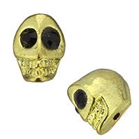 Strass Zinklegierung Perlen, Schädel, goldfarben plattiert, mit Strass, frei von Nickel, Blei & Kadmium, 9x12x12.50mm, Bohrung:ca. 2mm, 100PCs/Menge, verkauft von Menge
