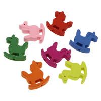 Holzperlen, Holz, Pferd, gemischte Farben, 21x23x4mm, Bohrung:ca. 1mm, 1000PCs/Tasche, verkauft von Tasche
