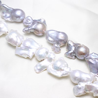 Kultivierte kernhaltige Süßwasserperlen, kultivierte Süßwasser kernhaltige Perlen, Biwa, keine, 18-20mm, Bohrung:ca. 0.8mm, Länge:ca. 15.5 ZollInch, ca. 8SträngeStrang/kg, verkauft von kg