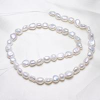 Barock kultivierten Süßwassersee Perlen, Natürliche kultivierte Süßwasserperlen, natürlich, weiß, 7-8mm, Bohrung:ca. 0.8mm, Länge:ca. 15.5 ZollInch, ca. 46SträngeStrang/kg, verkauft von kg