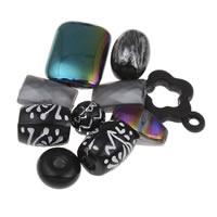 Acryl gemischt, schwarz, 6x4mm-20x25x8mm, Bohrung:ca. 1-2mm, ca. 1000PCs/Tasche, verkauft von Tasche