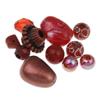 Acryl gemischt, rot, 8mm-15x30x10mm, Bohrung:ca. 1-2mm, ca. 1000PCs/Tasche, verkauft von Tasche