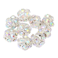 Strass Messing Perlen, silberfarben plattiert, mit Strass, frei von Nickel, Blei & Kadmium, 14mm, Bohrung:ca. 1mm, 10PCs/Tasche, verkauft von Tasche
