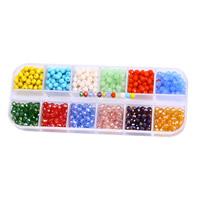 Kristall-Perlen, Kristall, mit Kunststoff Kasten, facettierte, gemischte Farben, 4mm, ca. 720PCs/Box