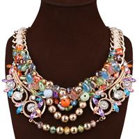 Mode Statement Halskette, Zinklegierung, mit Ripsband & Kristall, mit Verlängerungskettchen von 3.9lnch, goldfarben plattiert, für Frau & facettierte & mit Strass, frei von Nickel, Blei & Kadmium, 80mm, verkauft per ca. 20.4 ZollInch Strang