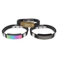 Unisex-Armband & Bangle, Edelstahl, mit Silikon, plattiert, mit Brief Muster & bunte versilbert, keine, 39x16x6mm, verkauft per ca. 7.5 ZollInch Strang