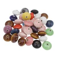 Porzellan Schmuckperlen, flache Runde, glaciert, gemischte Farben, 19x12mm, Bohrung:ca. 2mm, 20PCs/Tasche, verkauft von Tasche
