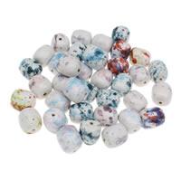 Porzellan Schmuckperlen, oval, Handzeichnung, gemischtes Muster, 18x20mm, Bohrung:ca. 1mm, 20PCs/Tasche, verkauft von Tasche
