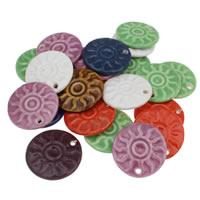 Porzellan-Anhänger, Porzellan, flache Runde, glaciert, gemischte Farben, 42x6mm, Bohrung:ca. 3mm, 20PCs/Tasche, verkauft von Tasche