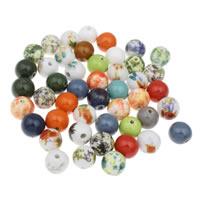Porzellan Schmuckperlen, rund, gemischte Farben, 16mm, Bohrung:ca. 2mm, 20PCs/Tasche, verkauft von Tasche