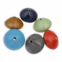 European Porzellan Perlen, Doppelkegel, glaciert, gemischte Farben, 40x30mm, Bohrung:ca. 5mm, 10PCs/Tasche, verkauft von Tasche