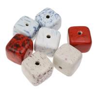 European Porzellan Perlen, Würfel, glaciert, gemischte Farben, 36x33mm, Bohrung:ca. 5mm, 10PCs/Tasche, verkauft von Tasche