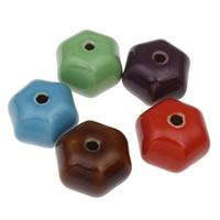 European Porzellan Perlen, Hexagram, glaciert, keine, 36x27mm, Bohrung:ca. 5mm, 10PCs/Tasche, verkauft von Tasche