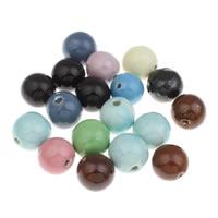 European Porzellan Perlen, rund, glaciert, gemischte Farben, 26mm, Bohrung:ca. 4mm, 10PCs/Tasche, verkauft von Tasche